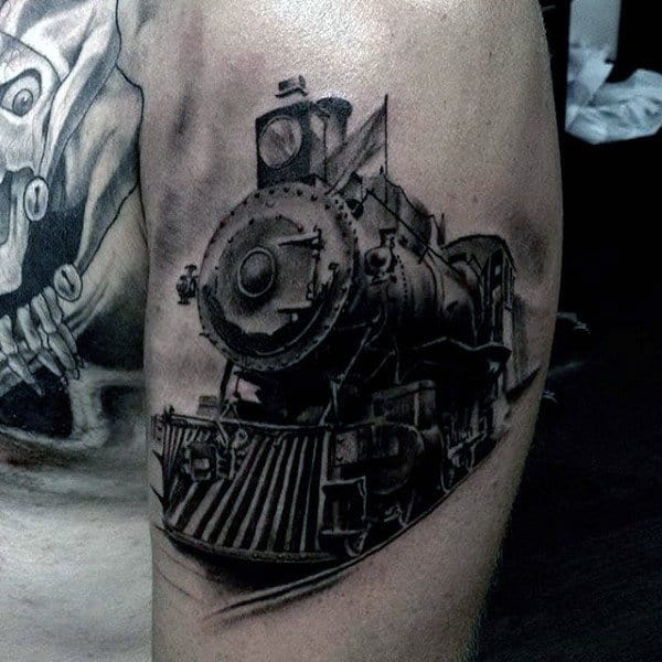 Gentleman With Awesome Train Leg Calf Tattoo Design