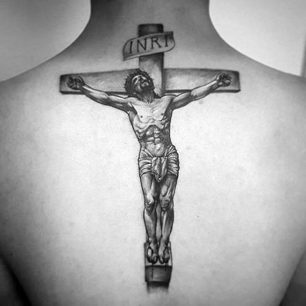 Gentleman With Back 3d Jesus Tattoo