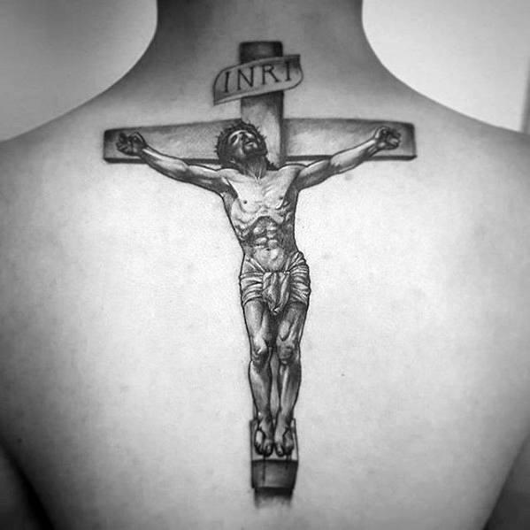 Gentleman With Back 3d Jesus Tattoo