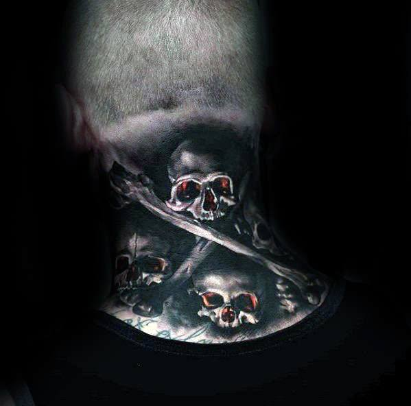 Gentleman With Badass Skull Neck Tattoo