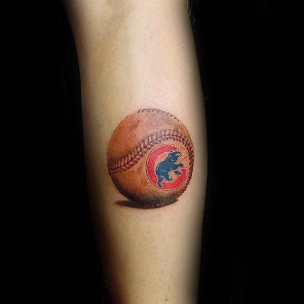 Gentleman With Badass Small Chicago Cubs Baseball 3d Leg Tattoo