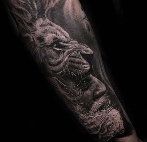 Gentleman With Badass Tiger Bearded Male Forearm Tattoo