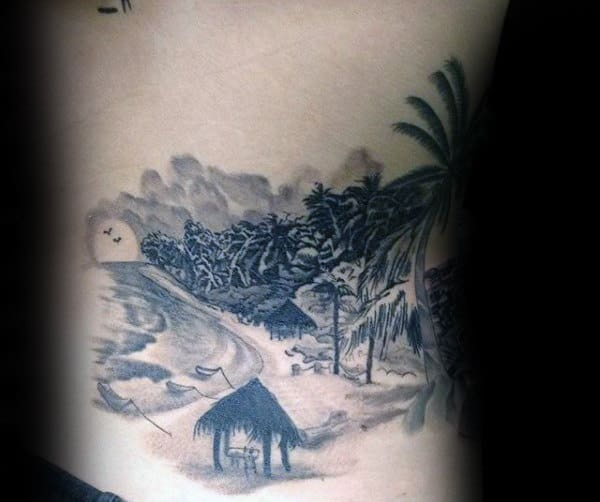Gentleman With Beach Scene Landscape Rib Cage Side Tattoo