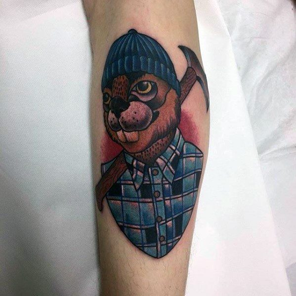Gentleman With Beaver Tattoo
