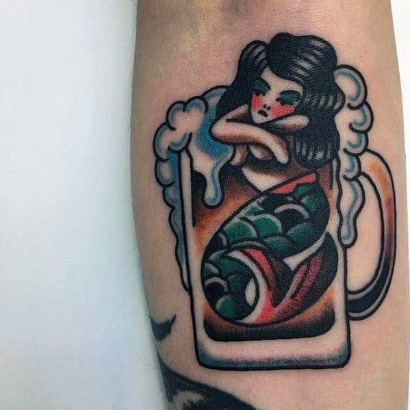 Gentleman With Beer Mermaid Traditional Tattoo
