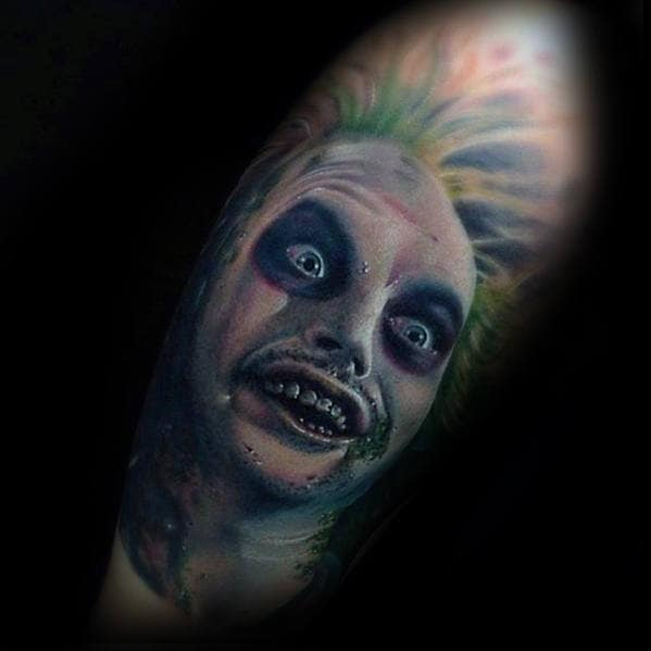 Gentleman With Beetlejuice Portrait Half Sleeve Tattoo