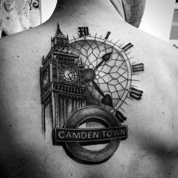 Gentleman With Big Ben Tattoo On Back