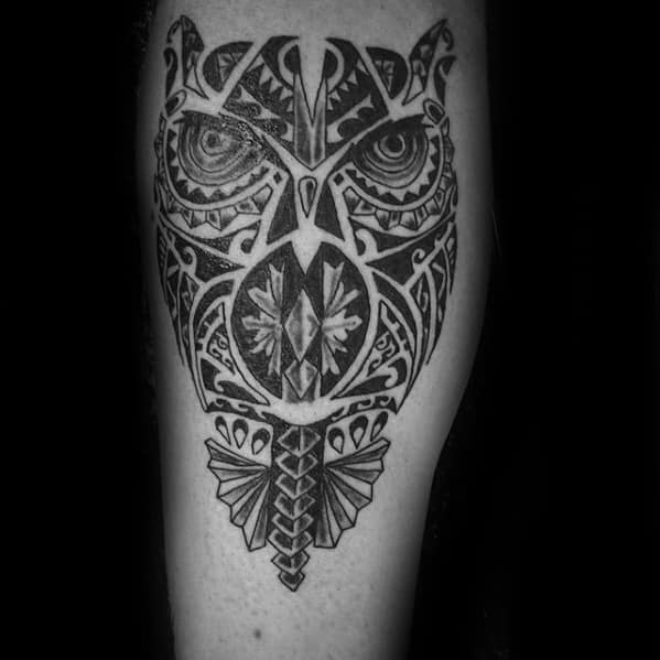 Gentleman With Black And Grey Tribal Owl Hawaiian Tattoo On Leg
