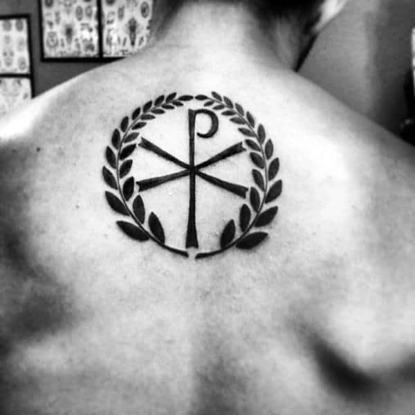 Gentleman With Black Ink Chi Rho Olive Branch Tattoo On Back