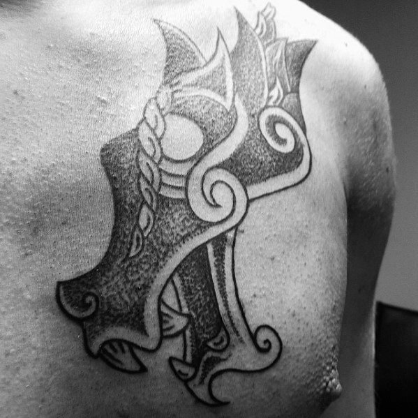 Gentleman With Black Ink Dotwork Celtic Dragon Head Tattoo On Upper Chest