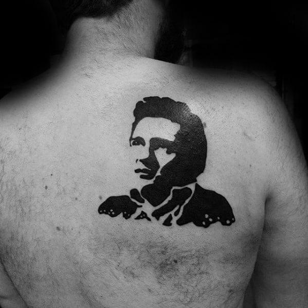 Gentleman With Black Ink Upper Back Shoulder Blade Johnny Cash Tattoo