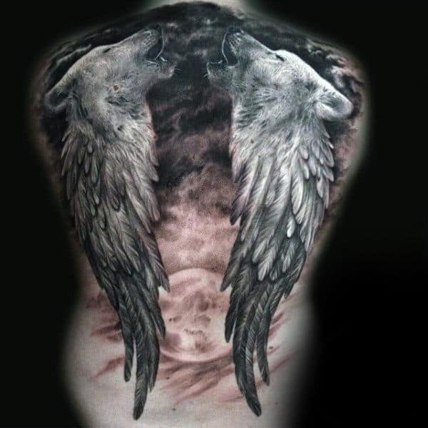 Gentleman With Black Ink Wolves And Angel Wings Back Tattoo