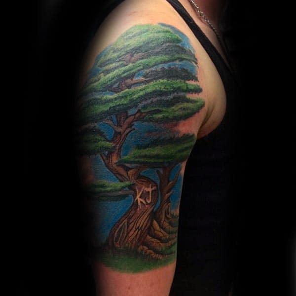 Gentleman With Bonsai Tree Half Sleeve Tattoo