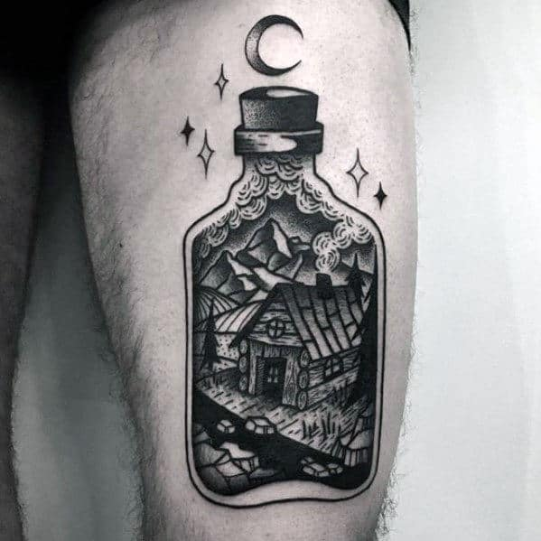 Gentleman With Cabin In A Bottle Cool Thigh Tattoo