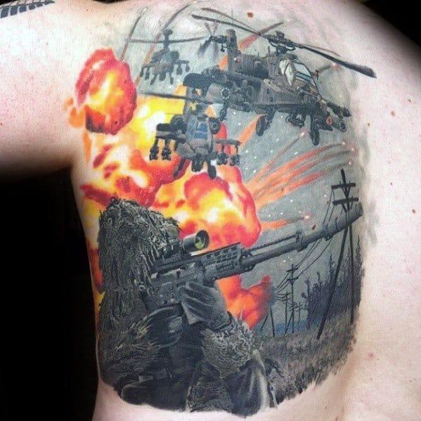 Gentleman With Call Of Duty Tattoo Half Back