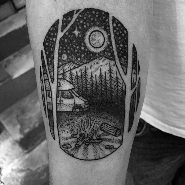 50 Campfire Tattoo Designs For Men Great Outdoors Ink Ideas