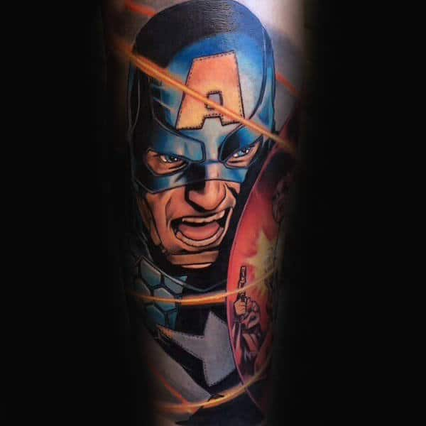 Gentleman With Captain America Forearm Sleeve Tattoo
