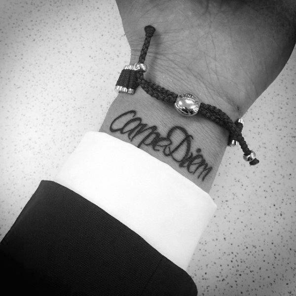 Gentleman With Carpe Diem Wrist Tattoo