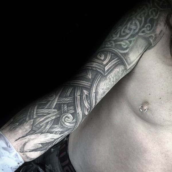 Gentleman With Carved Wood Celtic Full Arm Sleeve Tattoo