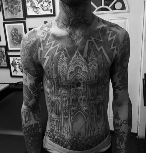 Gentleman With Cathedral Tattoo Full Chest