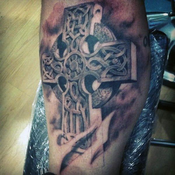 Gentleman With Celtic Cross Tattoo Inner Bicep