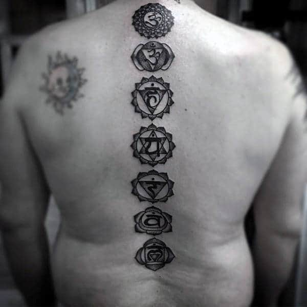 Gentleman With Chakras Spine Tattoo Black Ink Dotwork Design