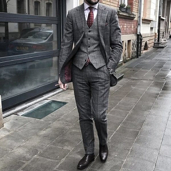 Gentleman With Charcoal Grey Three Piece Suit Brown Shoes Style