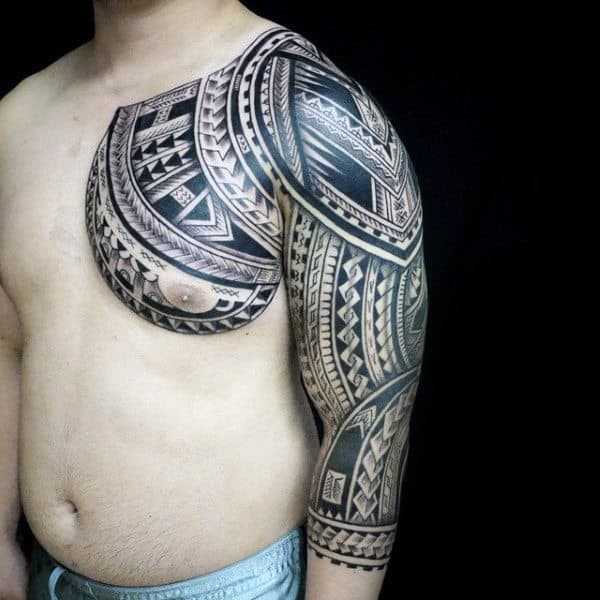 Gentleman With Chest And Half Sleeve Tribal Tattoos Designs