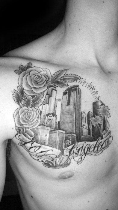 Gentleman With Chest Los Angeles Skyline Tattoo
