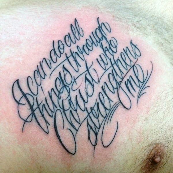 Gentleman With Chest Scripture Tattoos I Can Do All Things Through Christ Who Strengthens Me