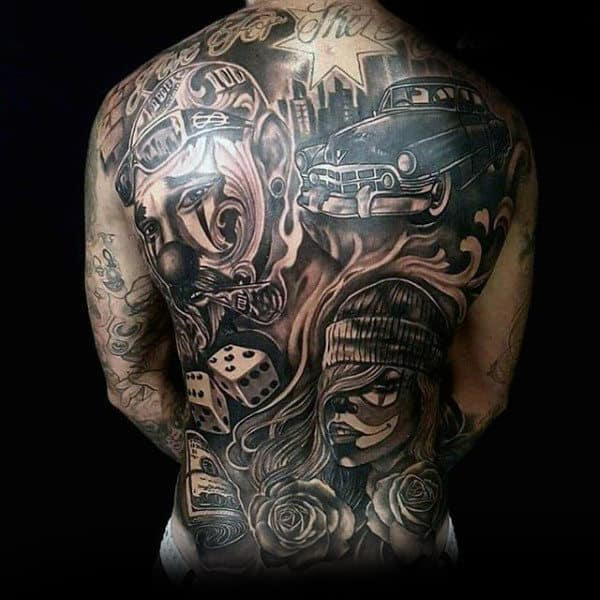 Gentleman With Chicano Themed Full Back Tattoo Design