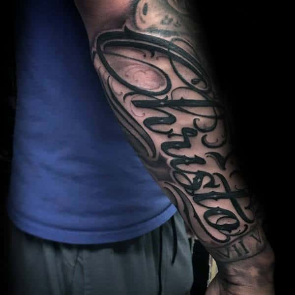 Gentleman With Christo Script Forearm Tattoo