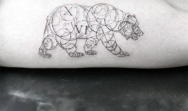 Gentleman With Circular Geometric Bear Arm Tattoo Design