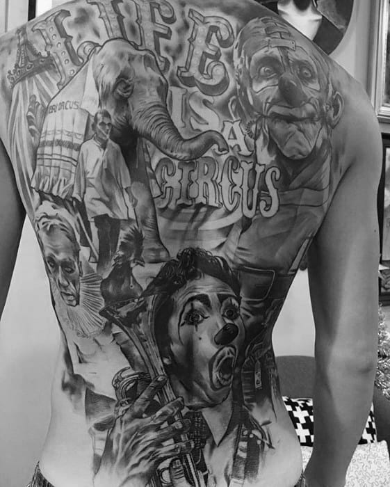 Gentleman With Circus Themed Shaded Full Back Tattoo