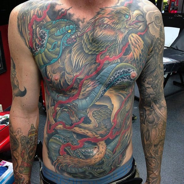 Gentleman With Colorful Full Chest Tattoo Design