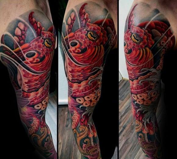 Gentleman With Colorful Kraken Sleeve Tattoo Design