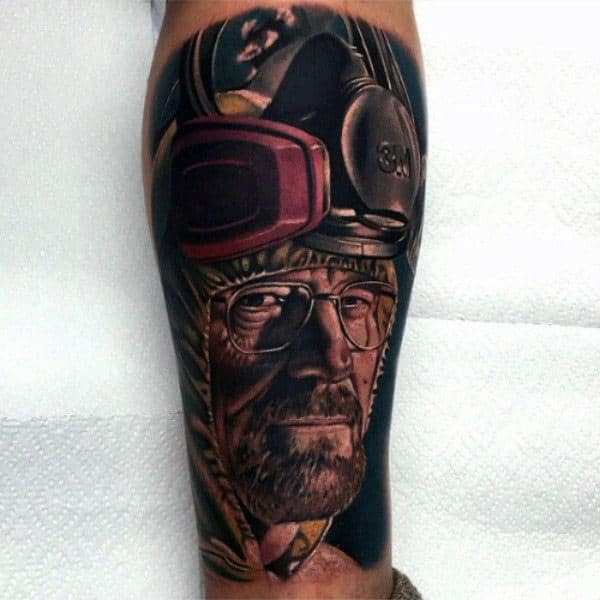 Gentleman With Cool Breaking Bad Tattoo On Arm