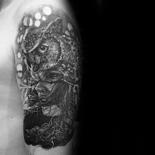 Gentleman With Cool Female Portrait Owl Quarter Sleeve Tattoo