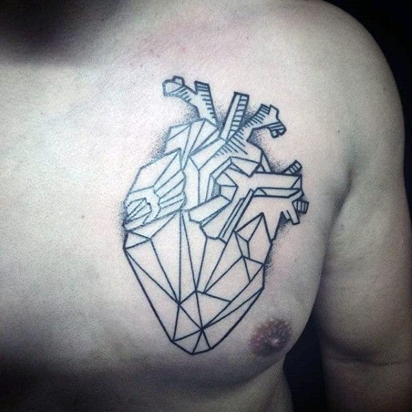 Gentleman With Cool Geometric Heart Tattoo On Upper Chest