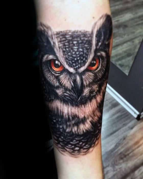 Gentleman With Cool Inner Forearm Tattoo Of Owl