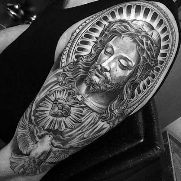 Gentleman With Cool Jesus Arm Tattoo
