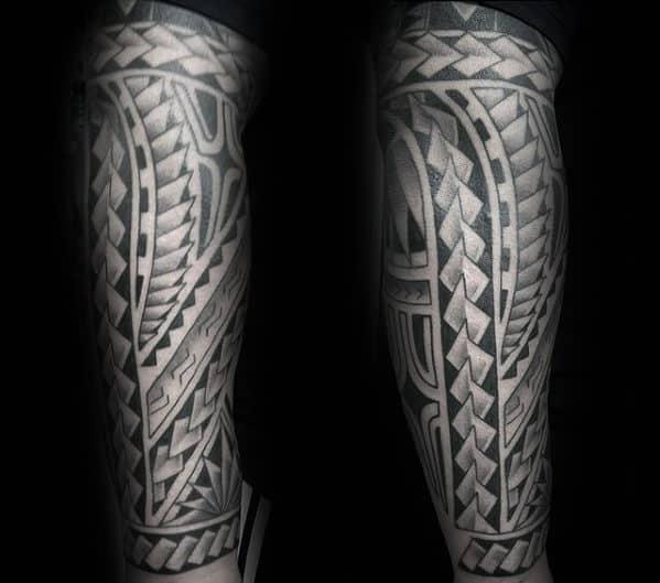Gentleman With Cool Polynesian Black Ink Tribal Tattoo