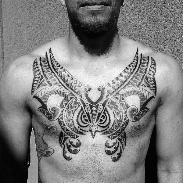 Gentleman With Cool Polynesian Chest Tattoo Design