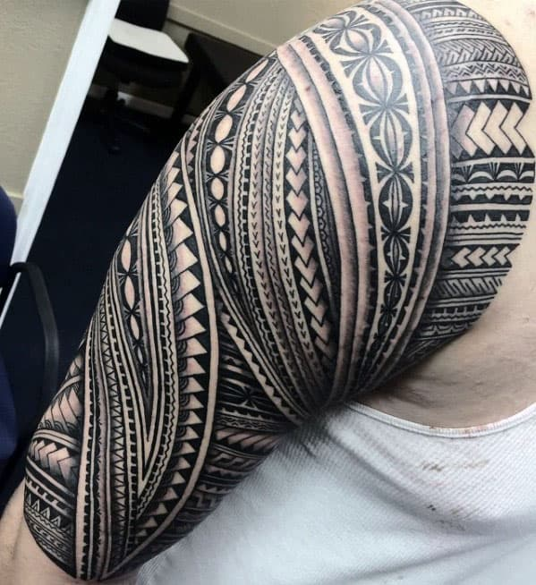 Gentleman With Cool Polynesian Tribal Half Sleeve Tattoo