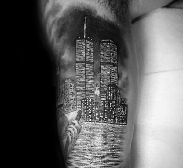 Gentleman With Cool Skyline New York Arm Tattoo