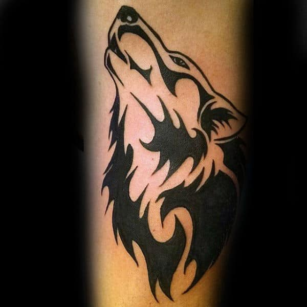 Gentleman With Cool Tribal Wolf Forearm Tattoo