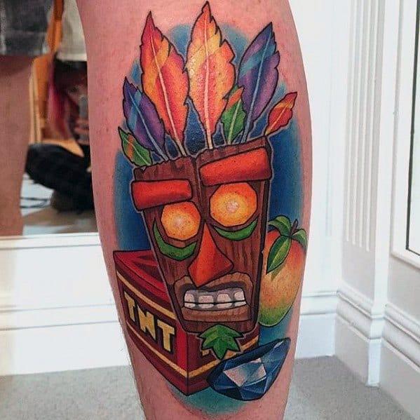Gentleman With Crash Bandicoot Tattoo Aku Aku Mask Back Of Legs