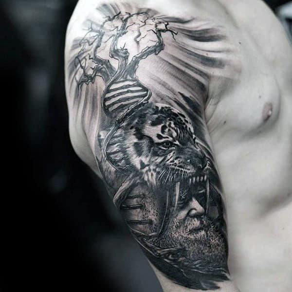 Gentleman With Creative Dna Tree Tiger Half Sleeve Tattoo