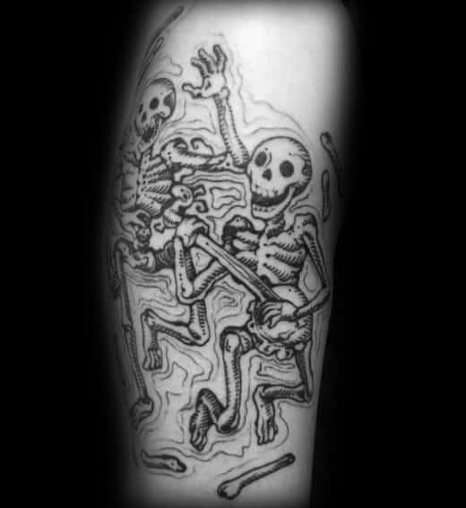 Gentleman With Dancing Skeleton Tattoo