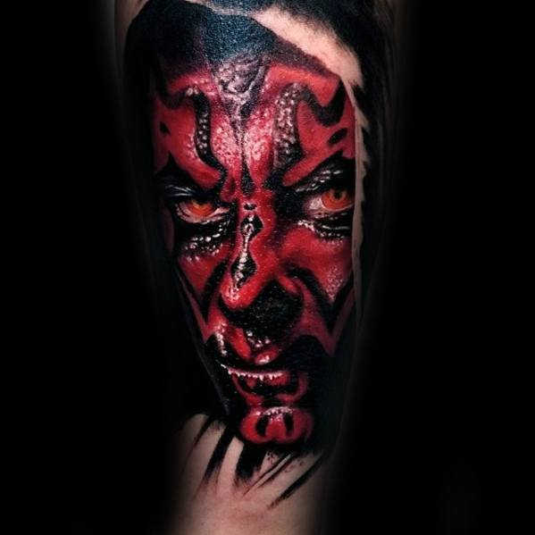 Gentleman With Darth Maul Tattoo On Arm